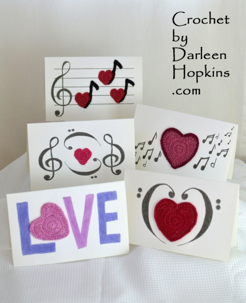 Love Notes crochet pattern for mixed media cards to make for Valentine's or any time