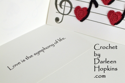 Love Notes, music themed make yourself crochet pattern Valentine's Day cards