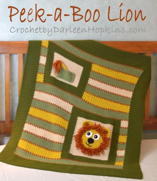 Baby Blanket Peek A Boo Lion Crochet By Darleen Hopkins