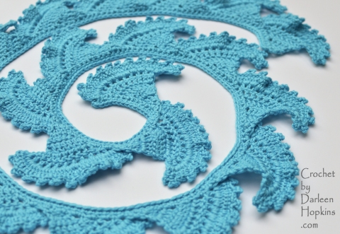 crocheted scarf pattern, del mar, by Darleen Hopkins
