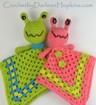Crochet pattern for a baby lovey, alien Arnie and Annie