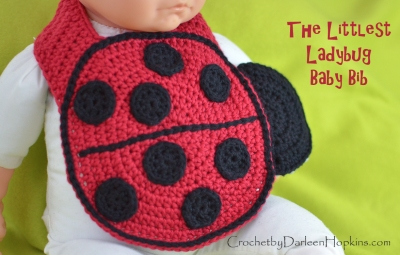 Littlest Ladybug baby bib crochet pattern by Darleen Hopkins WEB logo