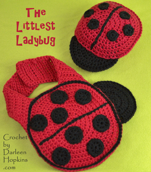 Littlest Ladybug crochet bib and rattle set by Darleen Hopkins ladybird ladybug #CbyDH