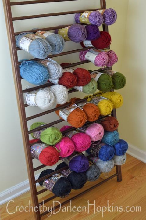 yarn storage out of repurposed crib