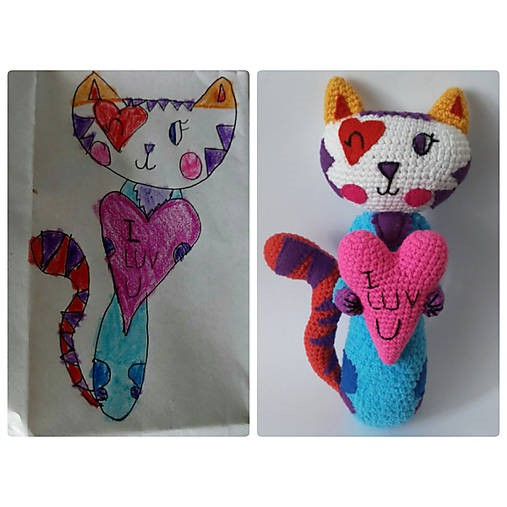 Crocheted toy from child's drawing.