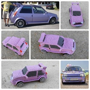Crocheted car from a photo