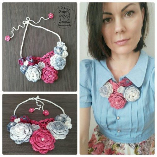 Crocheted necklace pattern, Roses in Bloom by Martina Gromova.