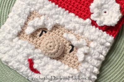 Christmas Santa Baby Bib crochet pattern by Darleen Hopkins #CbyDH