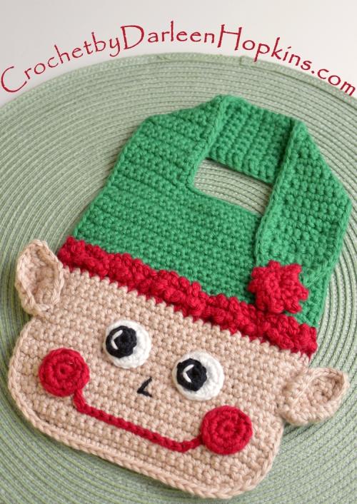 Christmas Elf Drool Bib crochet pattern by Darleen Hopkins #CbyDH