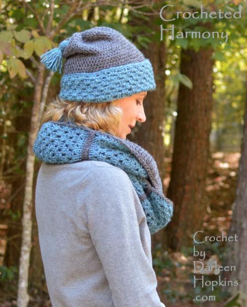 Harmony, cowl and hat crochet pattern set by Darleen Hopkins #CbyDH
