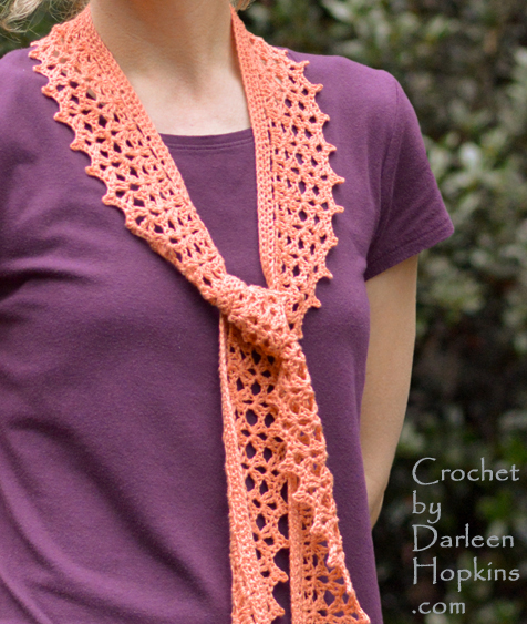 Tiffany Scarf in fingering weight yarn crochet pattern by Darleen Hopkins #CbyDH