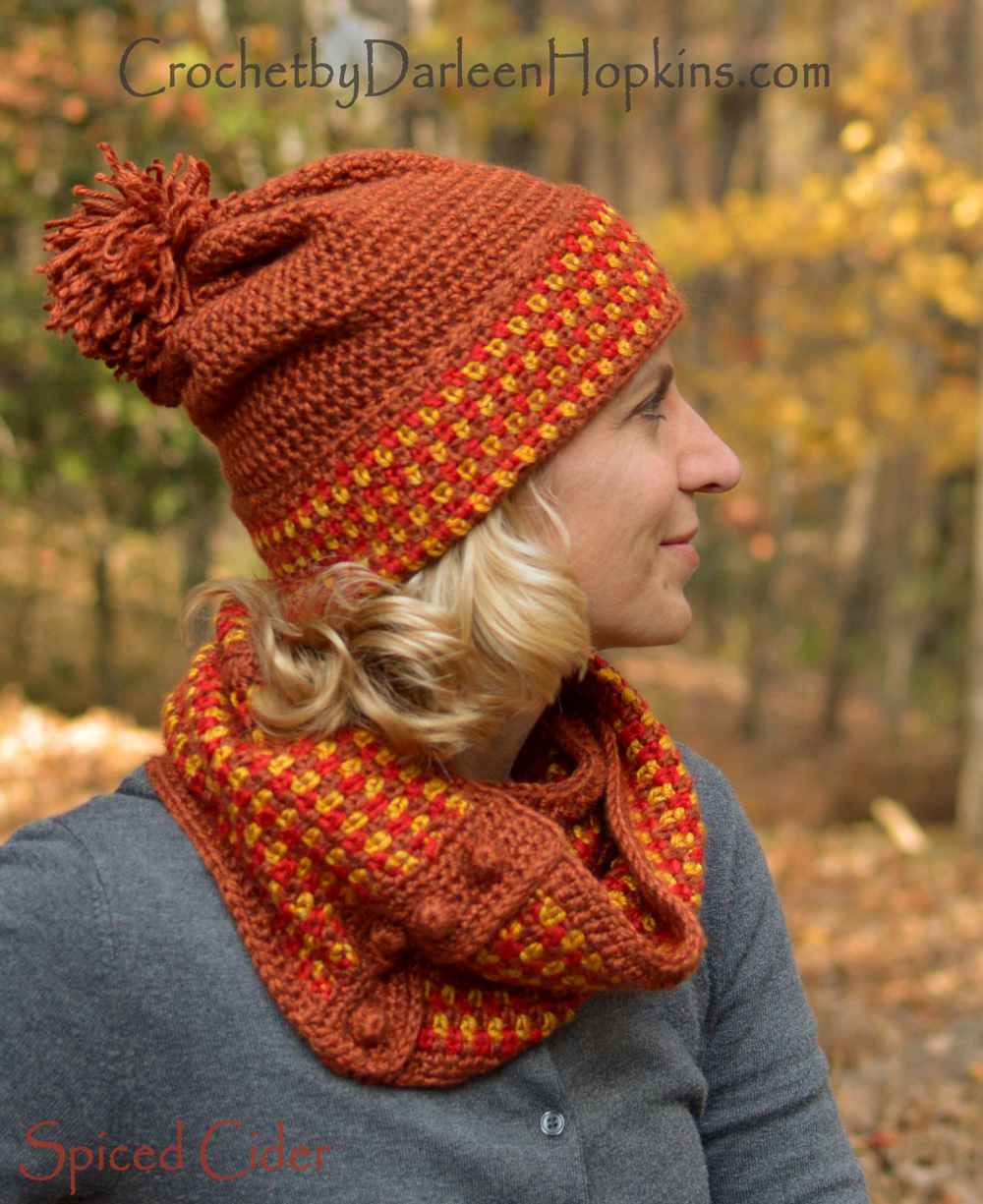 Hat and Cowl-Spiced Cider, pattern set | Crochet By Darleen Hopkins