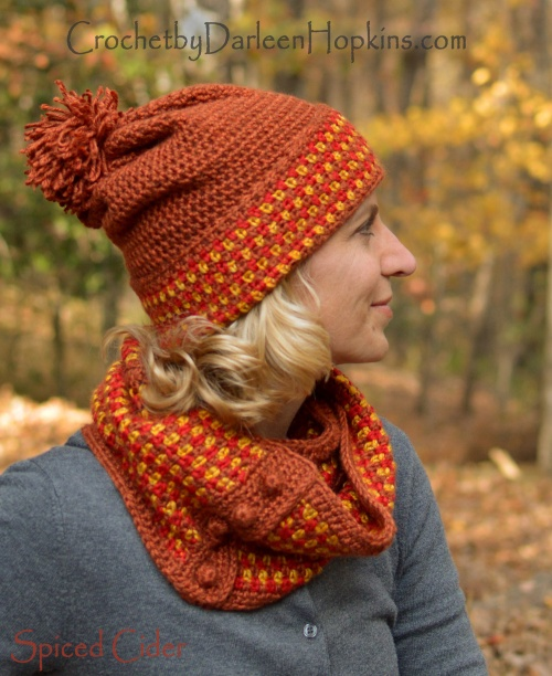 Spiced Cider hat and cowl crochet pattern by Darleen Hopkins Ravelry 5a7be41627a