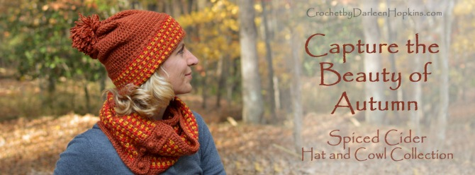 Spiced Cider crochet hat and cowl pattern by Darleen Hopkins