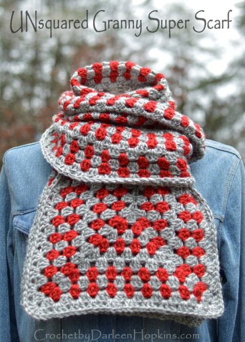 UNsquared-Granny-Super-Scarf-granny-square-crochet-pattern-by-Darleen-Hopkins #CbyDH