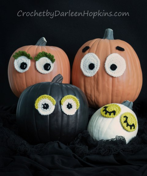Halloween pumpkins with crocheted eyes pattern by Darleen Hopkins