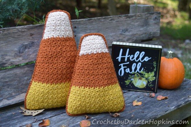Crochet pattern for candy corn pillows by Darleen Hopkins