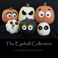 a collection of crocheted eyeball designs