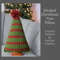 Crocheted Striped Christmas Tree Pillow pattern by Darleen Hopkins