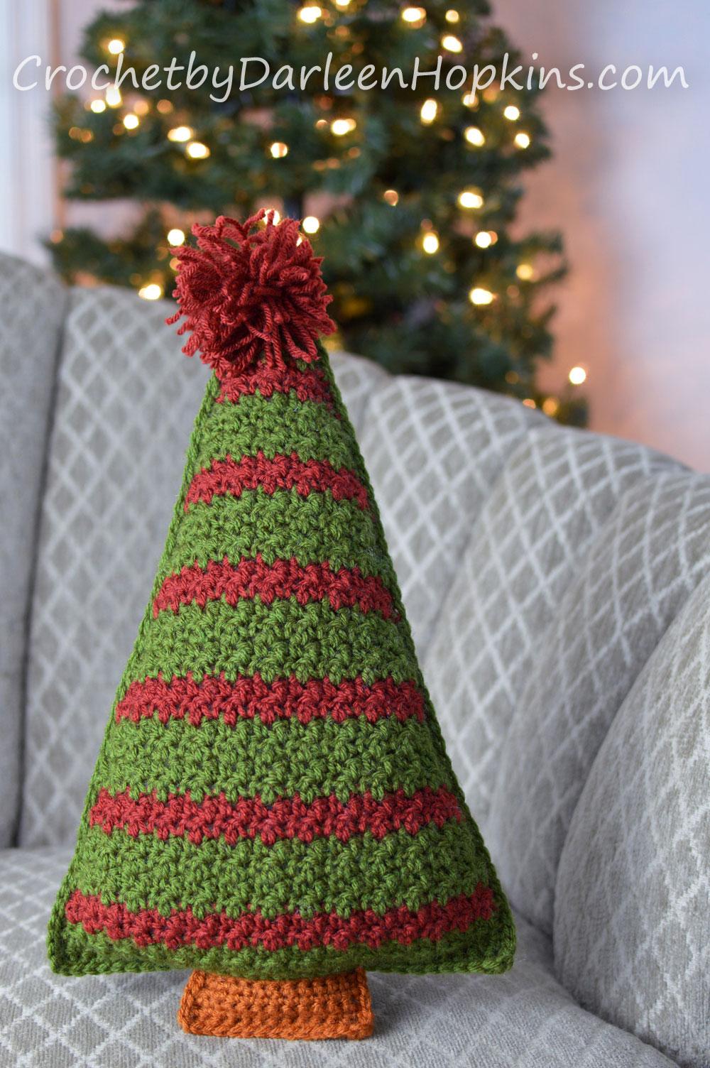 Striped Christmas Tree Pillow crochet pattern by Darleen Hopkins