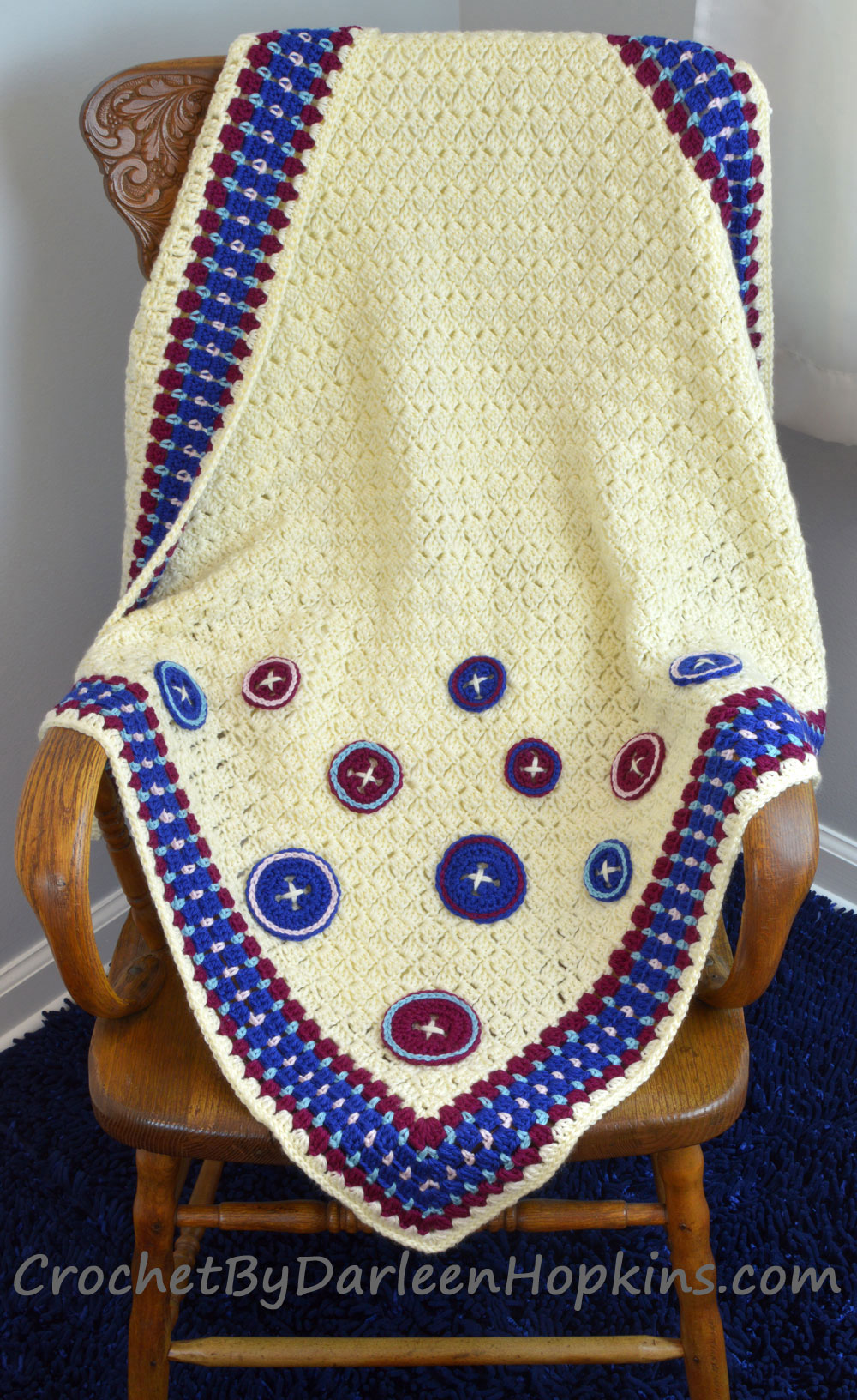 Cute as a Button Baby Blanket crochet pattern