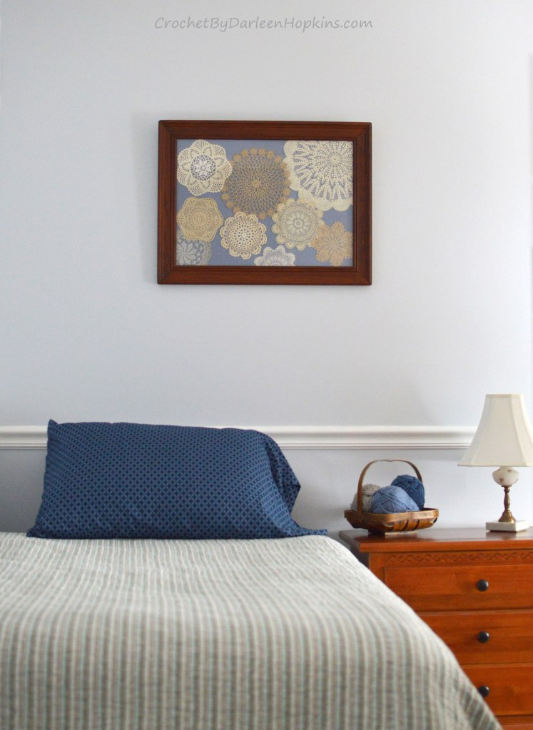 Beautiful vintage crocheted doilies turned into wall art