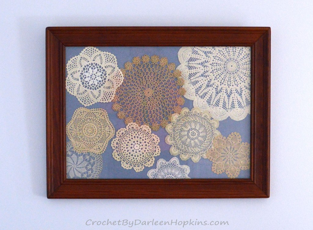 vintage crocheted doilies transformed into beautiful wall art